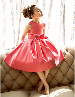cheap Flower Girl Dresses-A-Line Princess Tea Length Flower Girl Dress - Satin Short Sleeves Jewel Neck with Bow(s) by LAN TING BRIDE®
