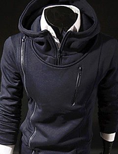 LiLuoKe Men's Simple Hoodie Zipper Tops(S881Navy Blue)