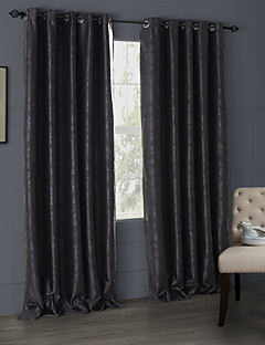 billige Mørkleggingsgardiner-Stanglomme Propp Topp Fane Top Dobbelt Plissert To paneler Window Treatment Moderne, Mønsterpreget Stue Polyester Materiale Blackout