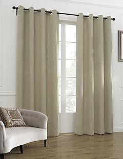 billige Gardiner-To paneler Window Treatment Neoklassisk , Solid Stue Lin/ Polyester Blanding Materiale gardiner gardiner Hjem Dekor For Vindu