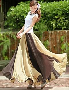お買い得  レディーススカート-女性のマルチカラーフレアシフォンスカート