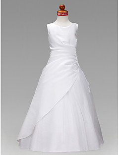 cheap Communion Dresses-A-Line Princess Floor Length Flower Girl Dress - Satin Tulle Sleeveless Jewel Neck with Ruched Ruffles by LAN TING BRIDE®