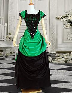 billiga Lolitaklänningar-Klassisk / Traditionell Lolita Victoriansk Satin Dam Klänningar Cosplay Svart Kortärmad Lång längd Halloweenkostymer