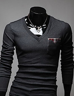 男性用 プレイン カジュアル Tシャツ,長袖 ニット,ブラック / ホワイト / グレー