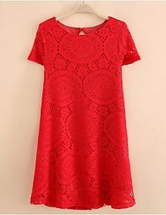 billige Lagersalg-Dame Chic & Moderne Skiftet Kjole - Ensfarget Helfarge Blonder, Moderne Stil Ren Farge Ovenfor knéet
