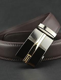 billige -Mænds Fashion Brown ægte læder Automatisk bæltespænde