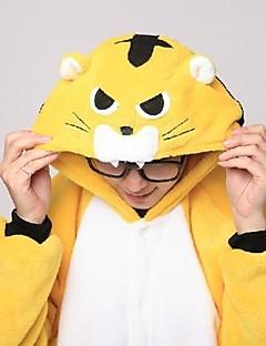 billige Kigurumi-Voksne Kigurumi-pysjamas med tøfler Tiger Onesie-pysjamas Korallfleece Gul Cosplay Til Herre Pysjamas med dyremotiv Tegnefilm Halloween Festival / høytid