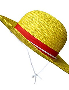 Hat/Cap Inspired by One Piece Monkey D. Luffy Anime Cosplay Accessories Hat Yellow Straw Rope Male