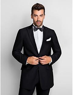 tanie Smokingi-Czarny 100% Wełna Standard Fit dwuczęściowym Tuxedo