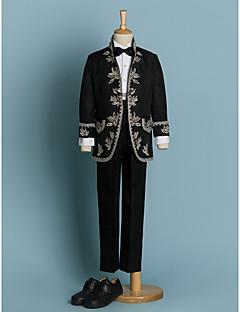 tanie Stroje-Kość słoniowa / Czarny Poliester Garnitur dla małego drużby - 4 Zawiera Marynarka / Koszula / Spodnie