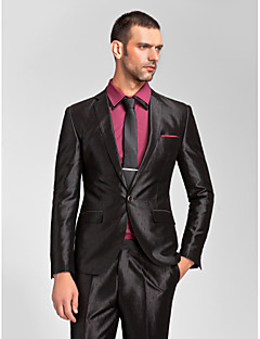 cheap Tuxedos-Black Pattern Tailored Fit Polyester Suit - Slim Notch Single Breasted One-button