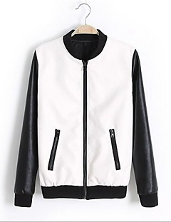 cheap Women's Furs & Leathers-Women's Street chic Jacket-Color Block Patchwork,Modern Style