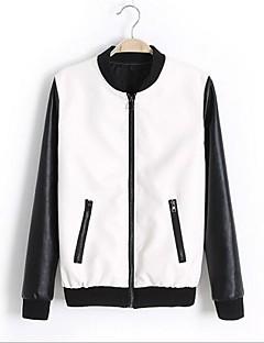 Women's Fashion Stand Collar Long Sleeve PU Leather Jacket