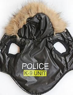 billiga Hundkläder-Katt Hund Huvtröjor Hundkläder Bokstav & Nummer Polis/Militär Svart Terylen Kostym För husdjur