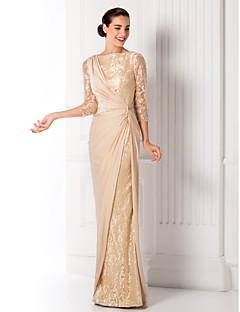 Χαμηλού Κόστους Παστέλ μπουκέτα-Ίσια Γραμμή Χαμόγελο Μακρύ Ζέρσεϊ / Μεταλλική δαντέλα Επίσημο Βραδινό Φόρεμα με Που καλύπτει με TS Couture® / Ψευδαίσθηση