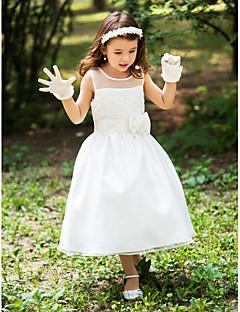 tanie Sukienki na co dzień-Krój A Lekko nad kolana Sukienka dla dziewczynki z kwiatami - Jedwab Bez rękawów Wycięcie z Przewiązka / Wstążka przez LAN TING BRIDE®