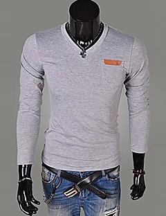 Lesen Men's V Neck Fashion Slim Pocket Leather Standard Design Casual T-Shirt O