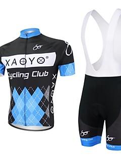 billige Sykkelklær-XAOYO Herre Kortermet Sykkeljersey med bib-shorts - Blå Sykkel Klessett, Fort Tørring, Pustende