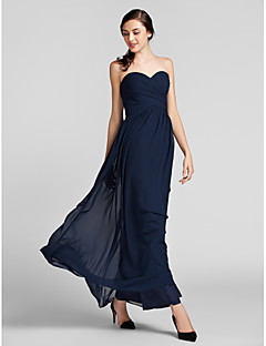cheap Imperial Blue-Sheath / Column Sweetheart Floor Length Chiffon Bridesmaid Dress with Side Draping Criss Cross by LAN TING BRIDE®