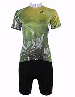 billige Sykkelklær-ILPALADINO Dame Kortermet Sykkeljersey med shorts - Mineral Grønn Sykkel Shorts / Jersey / Klessett, Fort Tørring, Pustende Blomster / botanikk