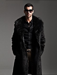 Men's Fashion Long Fur Coat,Solid Lapel collar Long Sleeve Winter Faux Fur