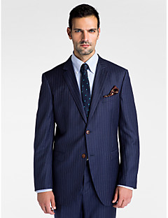 Stripes Tailored Fit Wool Polyester Suit - Slim Notch Single Breasted Two-buttons