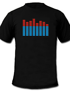 USD $ 11,69 - Geräusch und Musik aktiviertes LED T-Shirt; Spektrum; VU-Meter; EL Visualizer (4 * AAA)