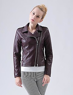 cheap Women's Furs & Leathers-Women's Chic & Modern Jacket-Solid Colored Patchwork,Vintage Style