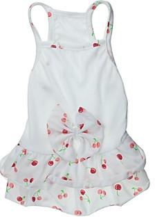 billiga Hundkläder-Katt Hund Klänningar Hundkläder Frukt Rosett Vit Cotton Kostym För husdjur Bröllop