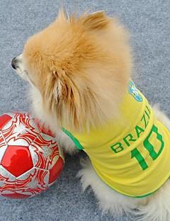 billiga Hundkläder-Katt Hund T-shirt Tröja Hundkläder Bokstav & Nummer Gul Terylen Kostym För husdjur Herr Dam Semester Sport