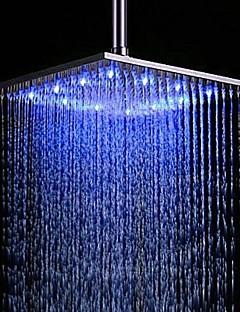 economico Soffioni doccia LED-Moderno Doccia a pioggia Spazzolato caratteristica - Effetto pioggia Con LED, Soffione doccia