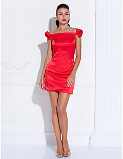 billiga Cocktailklänningar-Åtsmitande Off shoulder Kort / mini Satäng Cocktailfest / Bal Klänning med Rosett(er) av TS Couture®