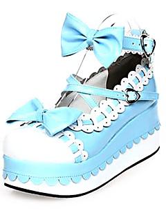 abordables Disfraces de Lolita-Zapatos Amaloli Princesa Plataforma Zapatos Lazo 7 CM Azul Rosa Para Cuero Sintético/Cuero de Poliuretano