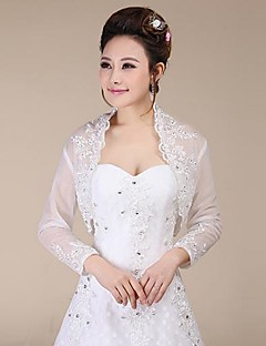 Long Sleeves Lace Wedding Party Evening Wraps With Sequin Coats Jackets