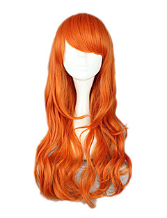 billige Anime cosplay-Cosplay Parykker One Piece Nami Oransje Anime Cosplay-parykker 26 tommers Varmeresistent Fiber Dame Halloween-parykker