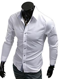 mannen revers hals effen kleur schede overhemd