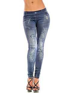 Vrouw Print Denim Legging,Denim Dun