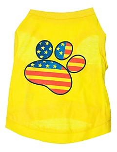 billiga Hundkläder-Katt Hund T-shirt Hundkläder Amerikanska / USA Gul Cotton Kostym För husdjur