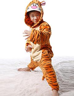 billige Kigurumi-Barne Kigurumi-pysjamas Tiger Onesie-pysjamas Flanell Fleece Cosplay Til Gutter og jenter Pysjamas med dyremotiv Tegnefilm Halloween Festival / høytid