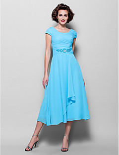 cheap -A-Line Jewel Neck Tea Length Chiffon Mother of the Bride Dress with Beading Side Draping by LAN TING BRIDE®