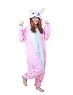 billige Kigurumi-Kigurumi-pysjamas Kanin Onesie-pysjamas Kostume Polar Fleece Rosa Cosplay Til Voksne Pysjamas med dyremotiv Tegnefilm Halloween Festival