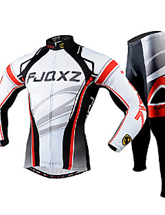 cheap Cycling Clothing-FJQXZ Men's Long Sleeves Cycling Jersey with Tights - White Bike Clothing Suits, Quick Dry, Ultraviolet Resistant, Breathable, 3D Pad