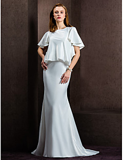 billiga Brudklänningar-Åtsmitande Prydd med juveler Hovsläp Satäng Bröllopsklänningar tillverkade med Knapp av LAN TING BRIDE®