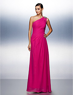 A-Line One Shoulder Floor Length Chiffon Prom Formal Evening Dress with Beading Side Draping by TS Couture®