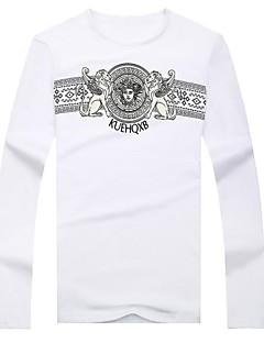 Print Muška Majica s rukavima Ležerne prilike,Pamuk / Mješavina pamuka Dugih rukava-Crna / Bijela / Siva