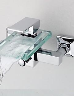 tanie Wodospad-Bateria Prysznicowa Bateria Wannowa - Wodospad Chrom Wanna i prysznic Dwa Otwory Pojedynczy Uchwyt Dwa Otwory
