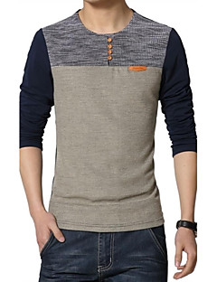 男性用 プレイン カジュアル / プラスサイズ Tシャツ,長袖 コットン / ポリエステル,ブルー / レッド