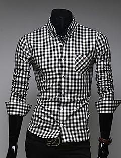 MEN - Cămăși Casual ( Amestec Bumbac ) Mulat/Informal Guler cămașă - Mânecă Lungă