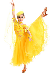 cheap Kids' Dancewear-Ballroom Dance Dresses Stage Props Gymnatics Women's Training Performance Spandex Crystals / Rhinestones Natural Dress Gloves Neckwear