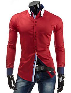 billige Herremote og klær-Bomull Tynn Skjorte Herre - Ensfarget